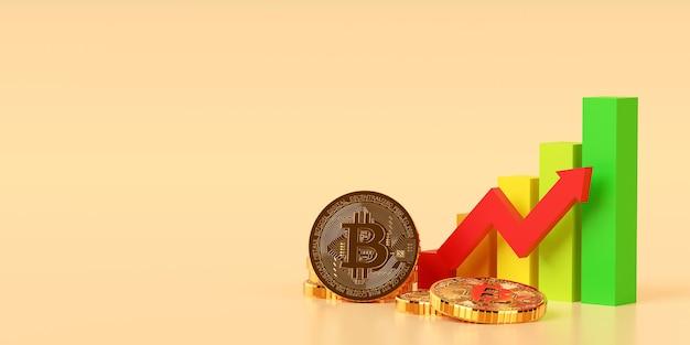 Investeringsconcept, grafiekgrafiek van beurscryptocurrency btc bitcoin trend omhoog, 3d illustratie