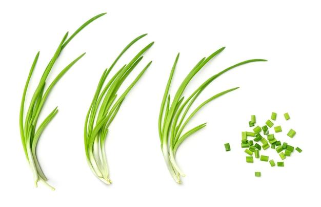Inzameling van jonge groene ui die op witte achtergrond wordt geïsoleerd. set van meerdere afbeeldingen. onderdeel van series