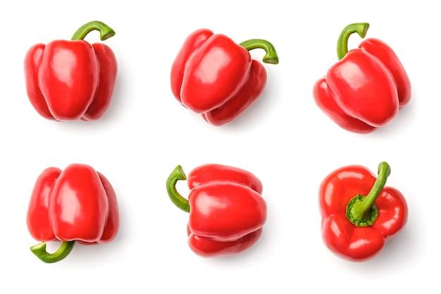 Inzameling van paprika's die op witte achtergrond wordt geïsoleerd. set van meerdere afbeeldingen. onderdeel van series