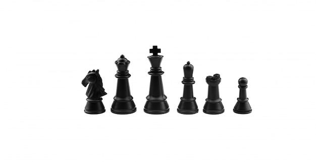 Inzameling van zwarte schaakcijfers die op een witte achtergrond worden geïsoleerd.