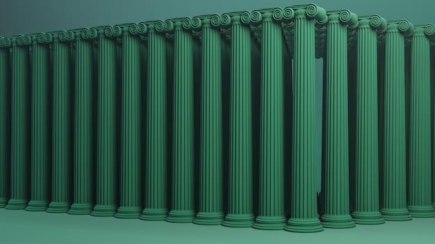 Ionische kolommen achtergrond 3d render.