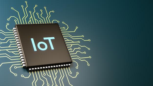 Iot-computerprocessor, internet van dingen-concept