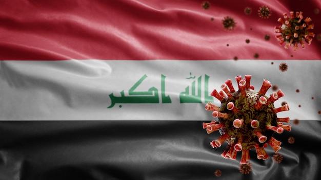 Iraakse vlag zwaait met uitbraak van coronavirus die het ademhalingssysteem infecteert als gevaarlijke griep