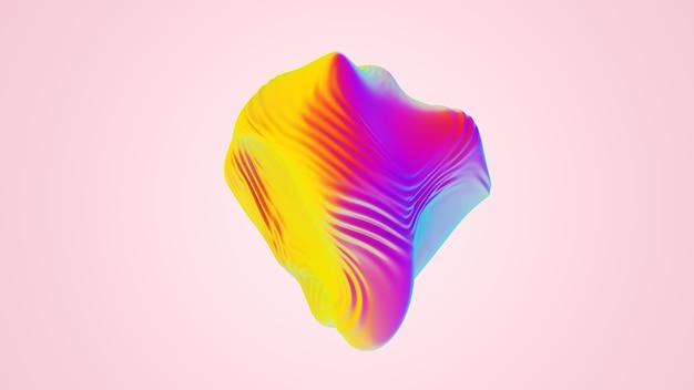 Iriserende abstracte golvende bol-object. kleurrijke ultraviolette folie doek textuur, vloeibaar oppervlak, rimpelingen, metalen reflectie. voor creatieve projecten: omslag, mode, web. 3d render illustratie.
