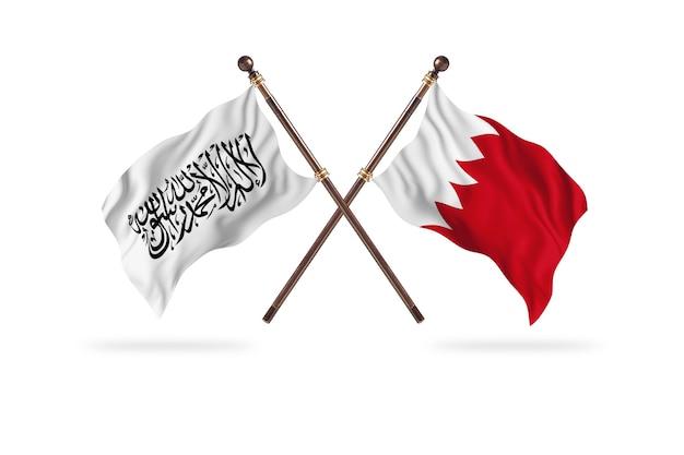 Islamitisch emiraat afghanistan versus bahrein twee vlaggen achtergrond