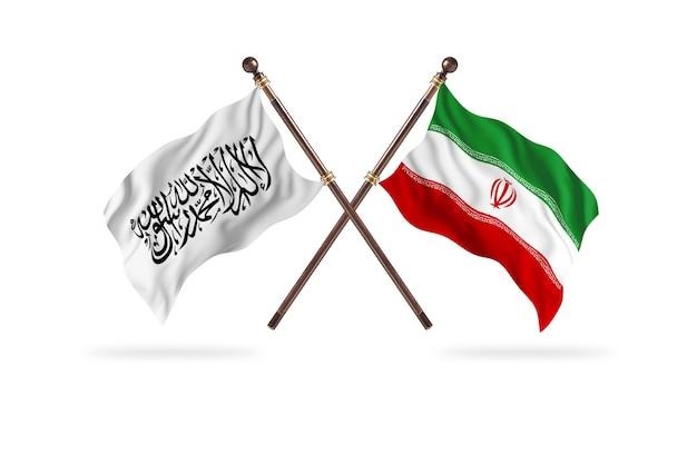 Islamitisch emiraat afghanistan versus iran twee vlaggen achtergrond