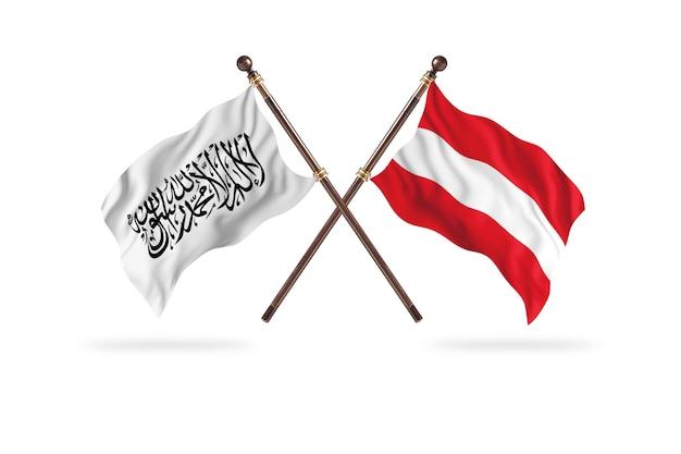 Islamitisch emiraat afghanistan versus oostenrijk twee vlaggen achtergrond