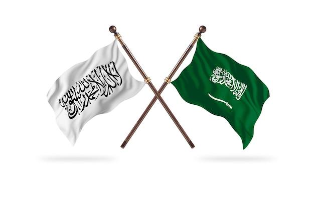 Islamitisch emiraat afghanistan versus saoedi-arabië twee vlaggen achtergrond