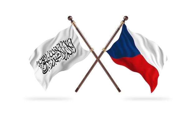 Islamitisch emiraat afghanistan versus tsjechië twee vlaggen achtergrond
