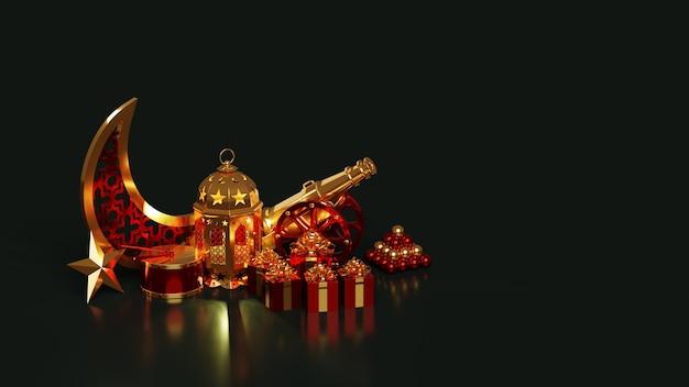 Islamitische achtergrond voor de vakantie van ramadan gloeiende lamp, wassende maan, ster, trommel, geschenken, kanon, kanonskogels op een donkergroene achtergrond. 3d render.