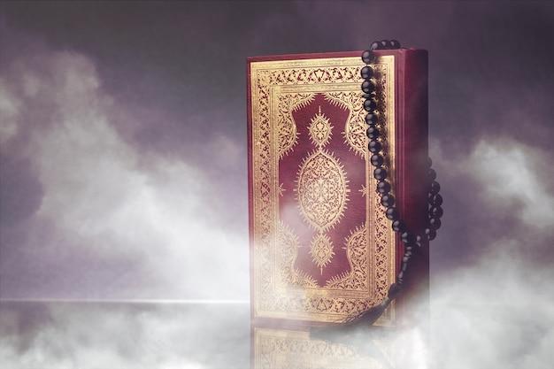 Islamitische boek koran met rozenkrans op grijze achtergrond