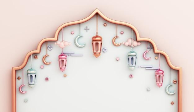 Islamitische decoratie achtergrond met arabische raamkozijn lantaarn halve maan kopie ruimte