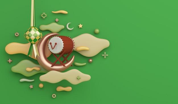 Islamitische decoratie achtergrond met bedug drum ketupat halve maan wolk kopie ruimte
