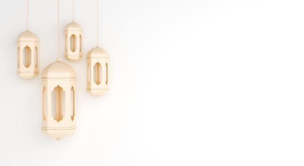 Islamitische decoratie met arabische lantaarn kopie ruimte