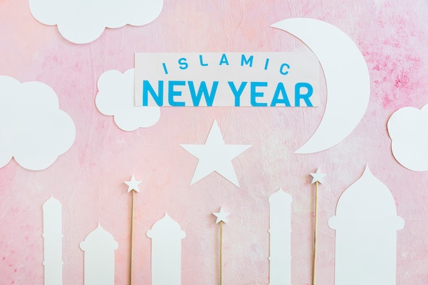Islamitische nieuwjaarswoorden met document decor