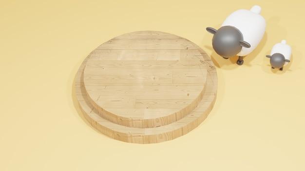 Islamitische ontwerpachtergrond met schapen voor opoffering en houten podium geschikt voor eid al adha