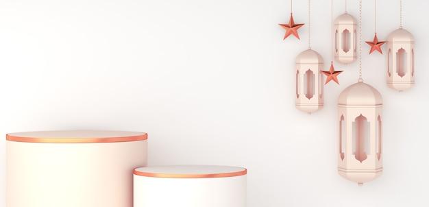 Islamitische podiumdecoratie met arabische lantaarn