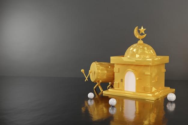 Islamitische podiumscène 3d render - premium afbeelding