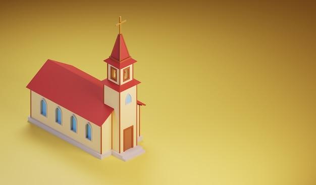 Isometrisch kerkgebouw met een klokkentoren gemaakt in cartoon-stijl