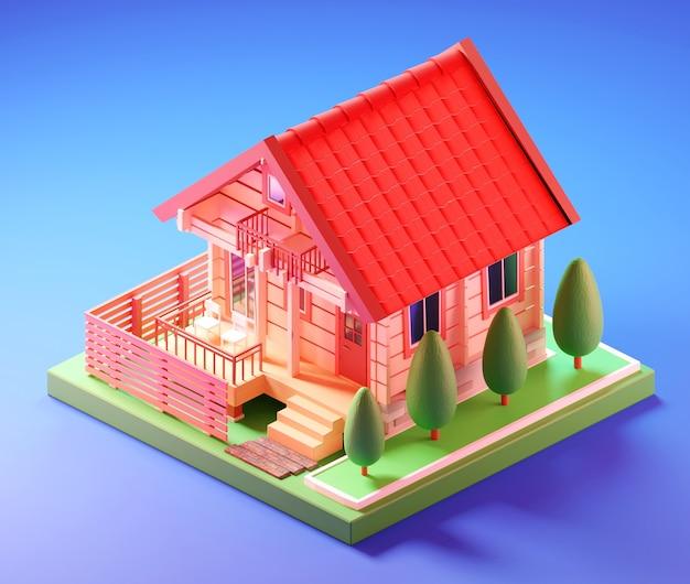 Isometrisch klein huis. 3d illustratie