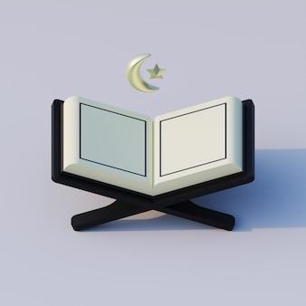 Isometrische 3d-rendering illustratie van koran met wassende maan en islamitische ster-symbool