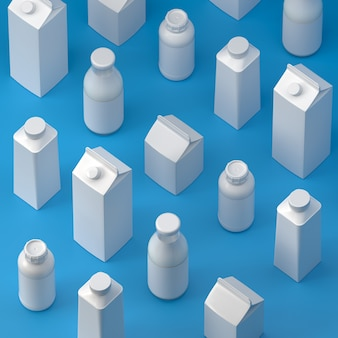 Isometrische 5 soorten blanco melkverpakkingen op het blauwe oppervlak. 3d-afbeelding