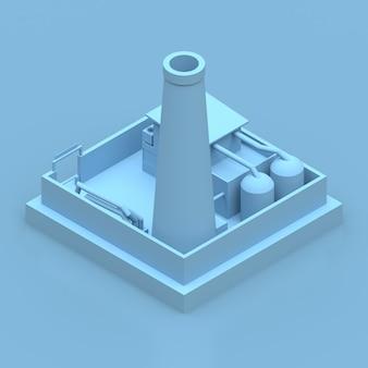 Isometrische blauwe fabriek renderen