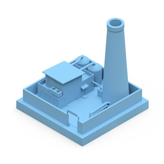 Isometrische cartoonfabriek in de stijl van minimal. blauw gebouw op een witte ondergrond