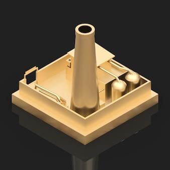 Isometrische cartoonfabriek in de stijl van minimal. goud voortbouwend op een zwarte glanzende achtergrond