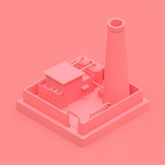 Isometrische cartoonfabriek in de stijl van minimal. roze gebouw op een roze achtergrond