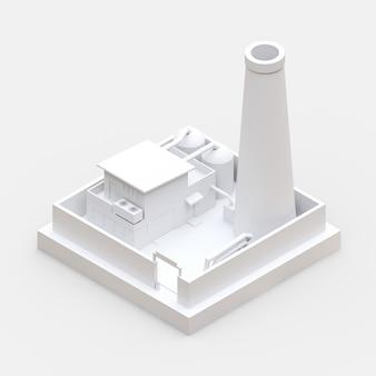 Isometrische cartoonfabriek in de stijl van minimal. wit gebouw. 3d-weergave
