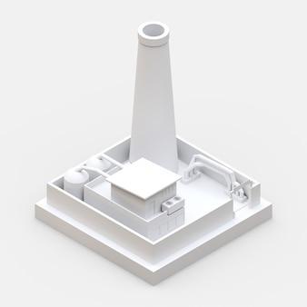 Isometrische cartoonfabriek in de stijl van minimal. wit gebouw op een witte ondergrond