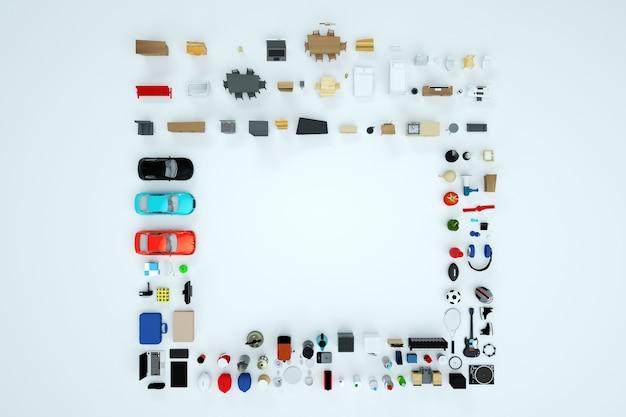 Isometrische modellen van elektrische huishoudelijke apparaten en meubels. bovenaanzicht. computer 3d-afbeeldingen. boodschappen doen. instrument collectie. geïsoleerde objecten op een witte achtergrond