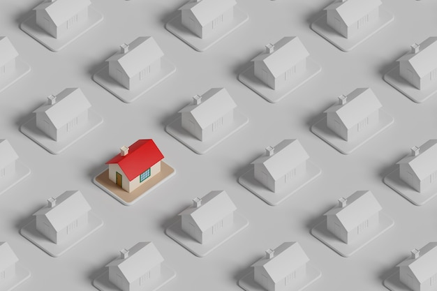 Isometrische weergave van een gekleurd huis onder vele andere witte huizen. vastgoedconcept.