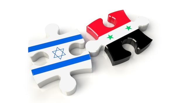 Israël en syrië vlaggen op puzzelstukjes. politiek relatieconcept. 3d-rendering