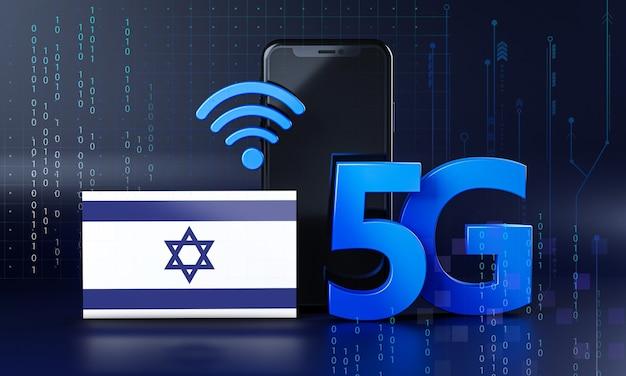 Israël klaar voor 5g-verbindingsconcept. 3d-rendering smartphone technische achtergrond
