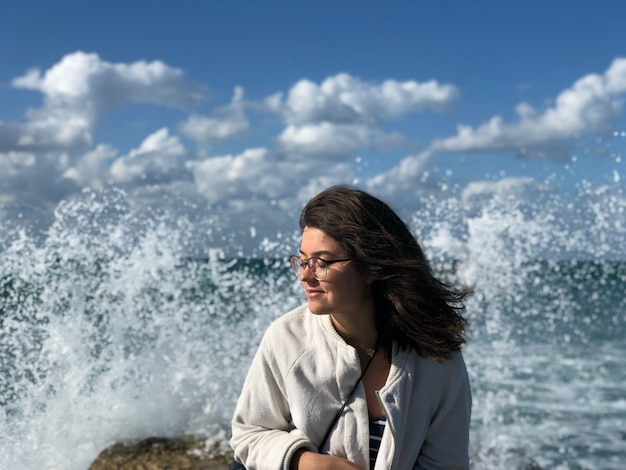 Israël, tel aviv. mensenportret op het strand