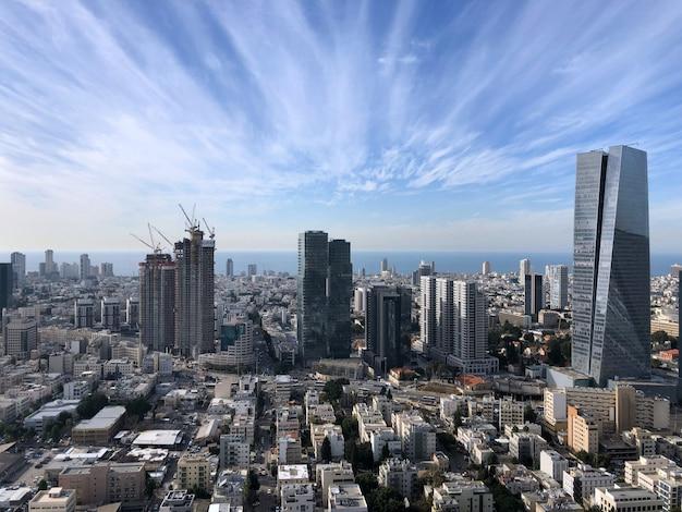 Israël, uitzicht op tel aviv van bovenaf.