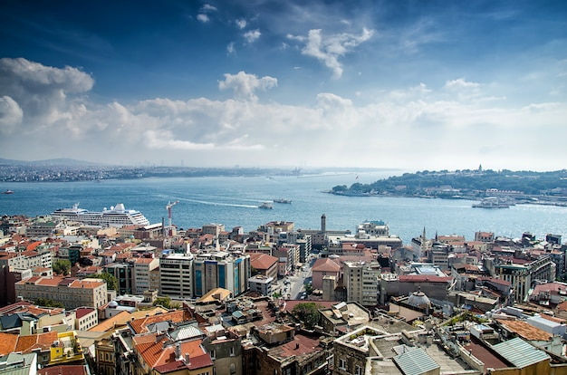 Istanbul en bosporus vanuit vogelperspectief
