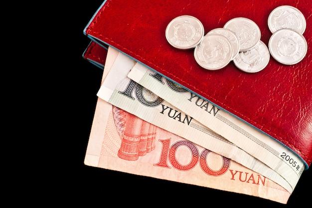 Italiaans leren portemonnee met chinees geld, handig voor concepten