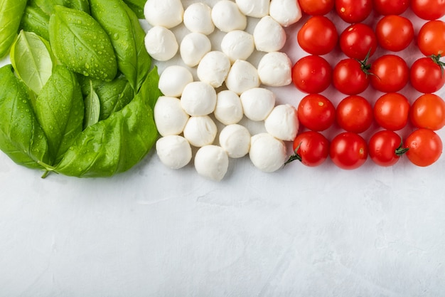 Italiaanse vlag gemaakt met tomaat mozzarella en basilicum