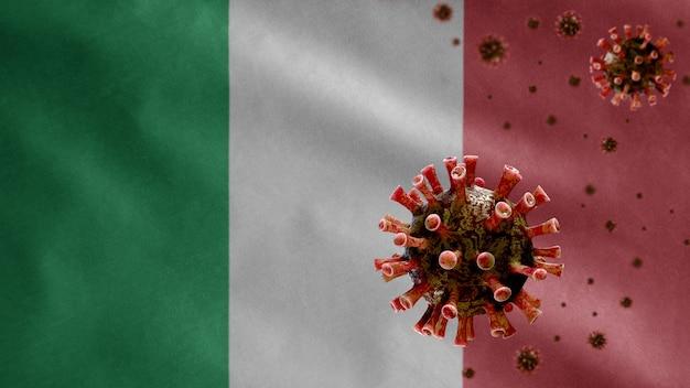 Italiaanse vlag wappert met uitbraak van coronavirus die het ademhalingssysteem infecteert als gevaarlijke griep