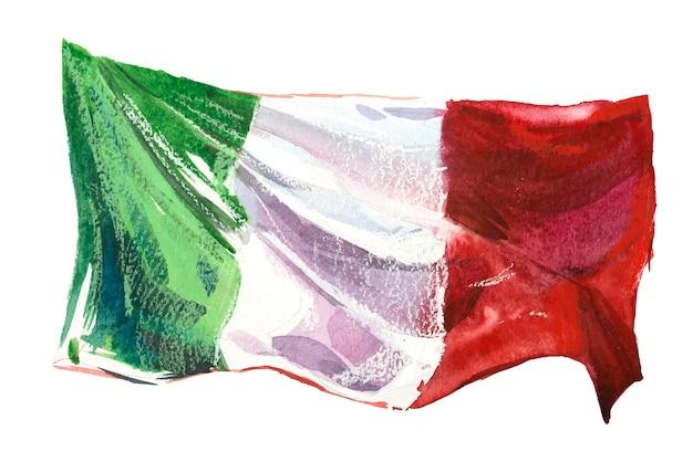 Italië, italiaanse vlag. hand getekende aquarel illustratie.