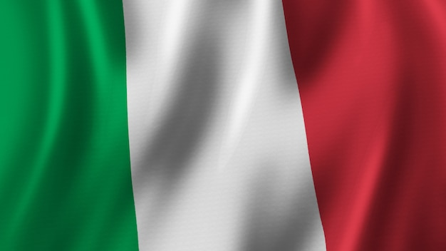 Italië vlag zwaaien close-up 3d-rendering met hoogwaardige afbeelding met stof textuur Premium Foto