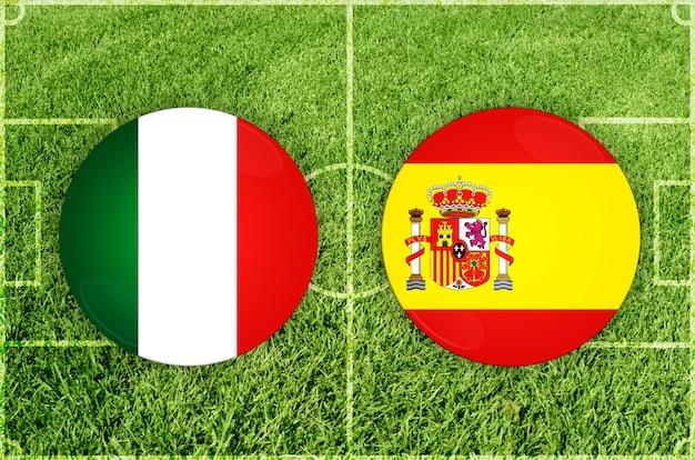 Italië vs spanje voetbalwedstrijd