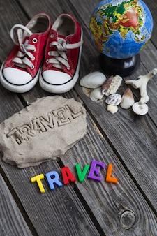 Items reiziger, reizen concept