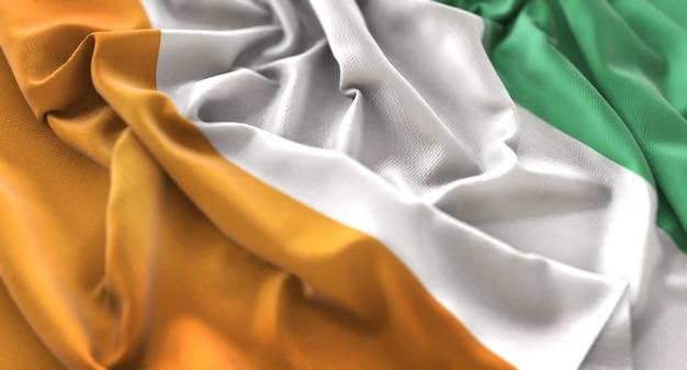 Ivory coast flag ruffled mooi wave macro close-up shot