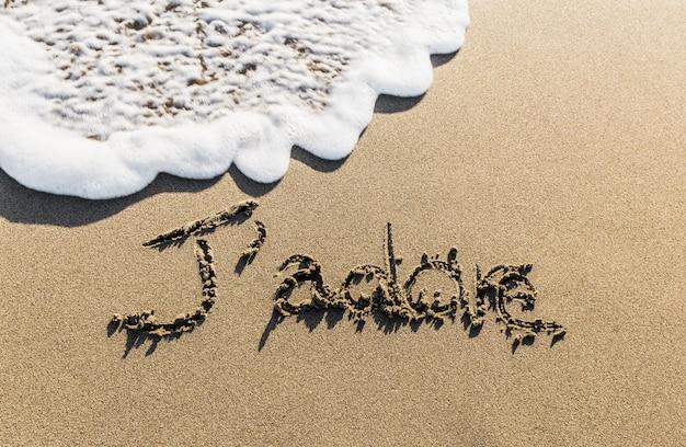 J'adore. een manier om frans bekend over de hele wereld te zeggen, geschreven op het zand