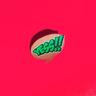 Ja woordtekst op tekstballon op rode achtergrond