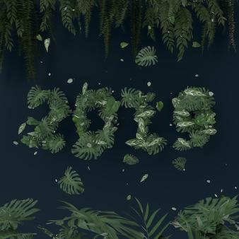 Jaar 2019 ontwerpnummer met bladeren en plant op blauwe achtergrond